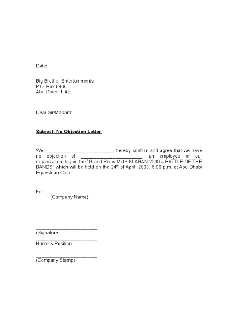 Sample No Objection Letter Certificate Noc 1 – No Objection Format