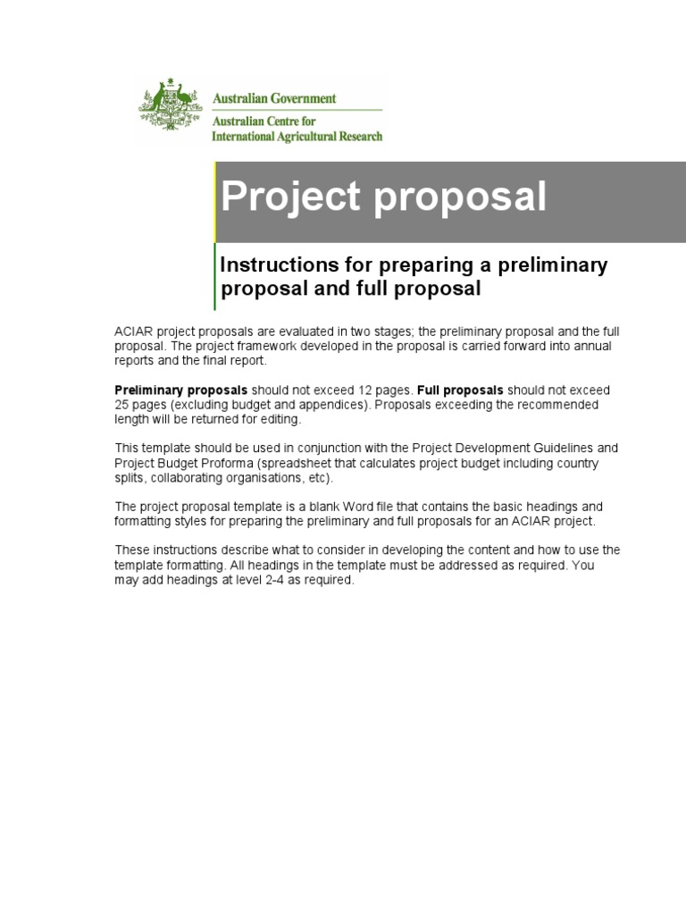 Project Proposal Instructions Environmental Impact Assessment