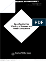 ANSI/AWS D14.5-97 Specification for Welding of Presses and Press Components