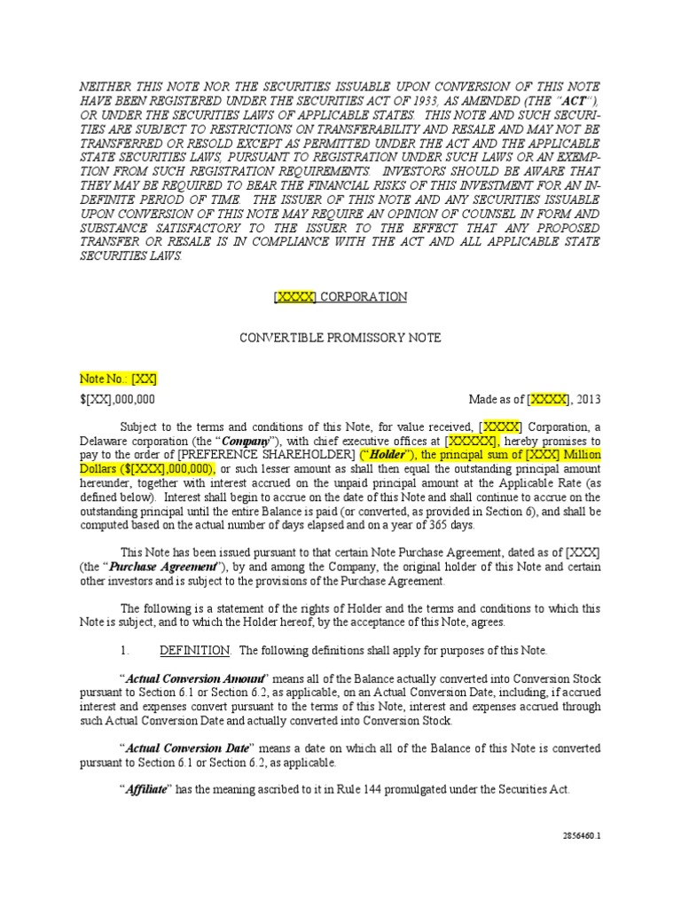 convertable promissory note - template | corporate action