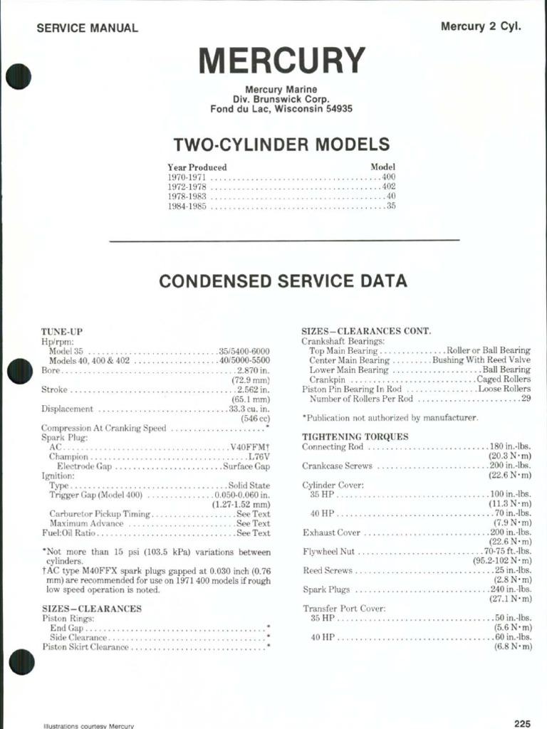 mercury service manual piston ignition system rh scribd com 35 HP Mercury Outboard Manual 35 HP Mercury Water Pump