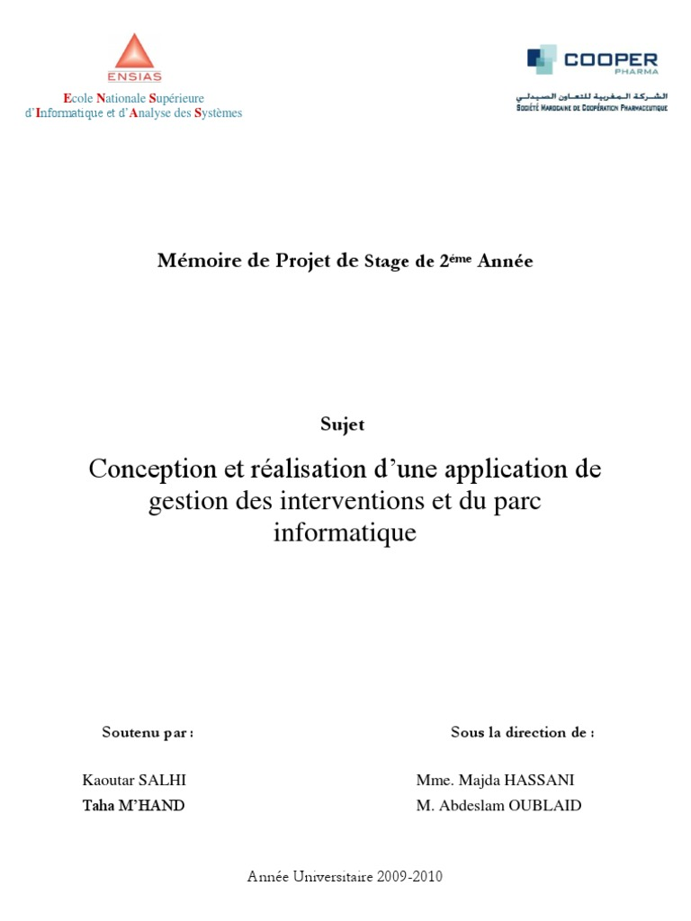 Cooper Conception Realisation Application Gestion Interventions Parc