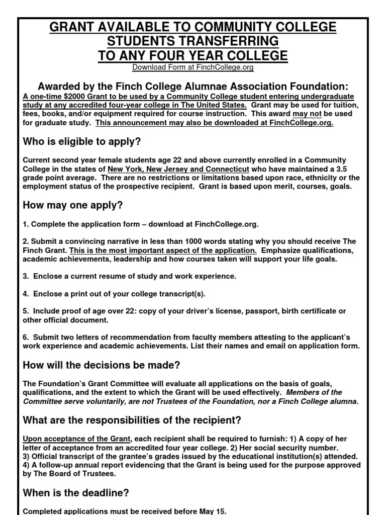 Finch foundation grant for women community collge studentspdf finch foundation grant for women community collge studentspdf college zip code thecheapjerseys Image collections