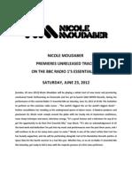 Nicole Moudaber Essential Mix PRESS RELEASE 20120620