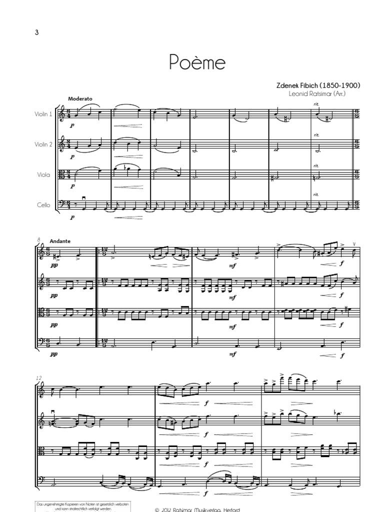 Zdenek Fibich Poeme For String Quartet Zdenek Fibich