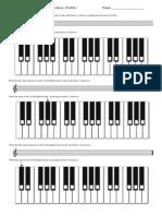 Worksheet 0012 Notating Scales and Piano Keys Treble New