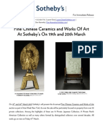 Fine Chinese Ceramics and Works Of Art At Sotheby's On 19th and 20th March