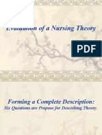 Evaluation of a Nursing Theory NURSING THEORY PPT