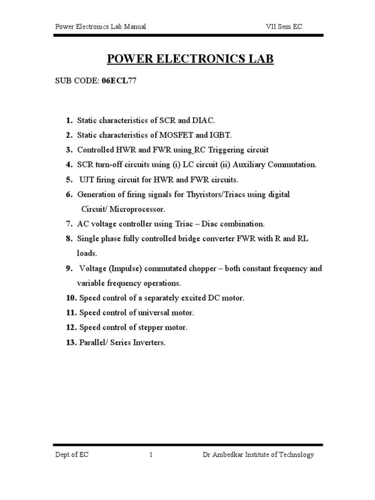 Power Electronics Lab Manual 7th Ece Vtu | Mosfet | Field Effect Transistor