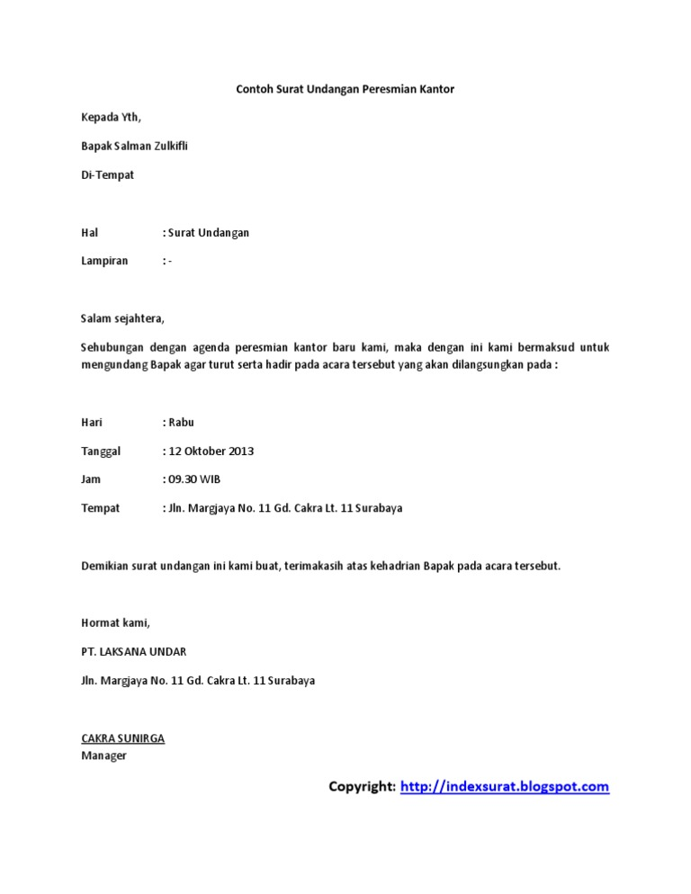 Surat undangan peresmian gedungpdf stopboris Gallery