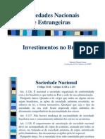 Sociedades Nacionais e Estrangeiras - Investimentos No Brasil