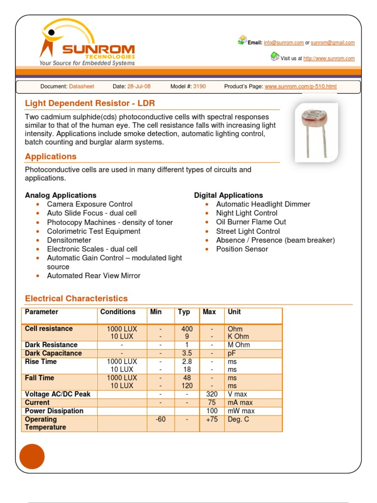 Ldr Datasheet Light Electrical Resistance And Conductance