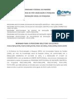 Normas Processo Seletivo Ic 2012-1013