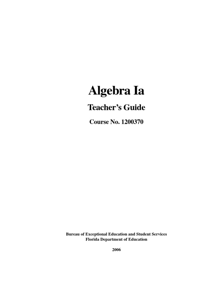 algebra i a teacher s guide educational assessment curriculum