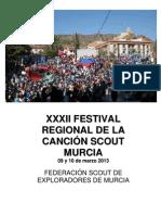 Detalle de la Actividad para grupos del Festival Regional  2013 de la Canción Scout
