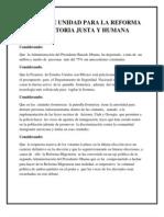 Puntos de Unidad Para La Reforma Migratoria Justa y Humana-final