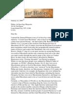 Professor's Stephen G. Miller Letter to Archaeology Magazine