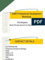 IQMS Professional Development Workshop