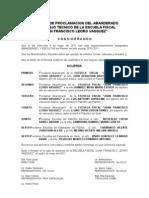 Acta de Proclamacion de Abanderados 2010-2011