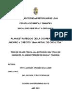Plan Estrategico cooperativa de ahoro y credito banca y finanzas