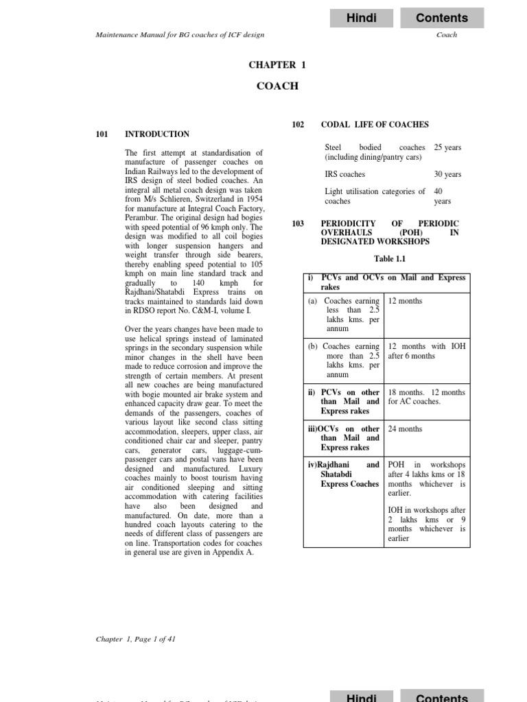 Indian Railways Coach Maintenance Manual for BG Coaches | Housekeeping |  Train