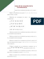 Problemas de la ecuación de la circunferencia
