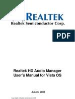 Realtek HDA Audio User Manual Vista