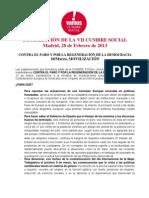 Declaración Cumbre Social 10 de Marzo