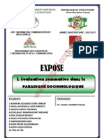 Evaluation Sommative Dans Le Paradigme Docimologique