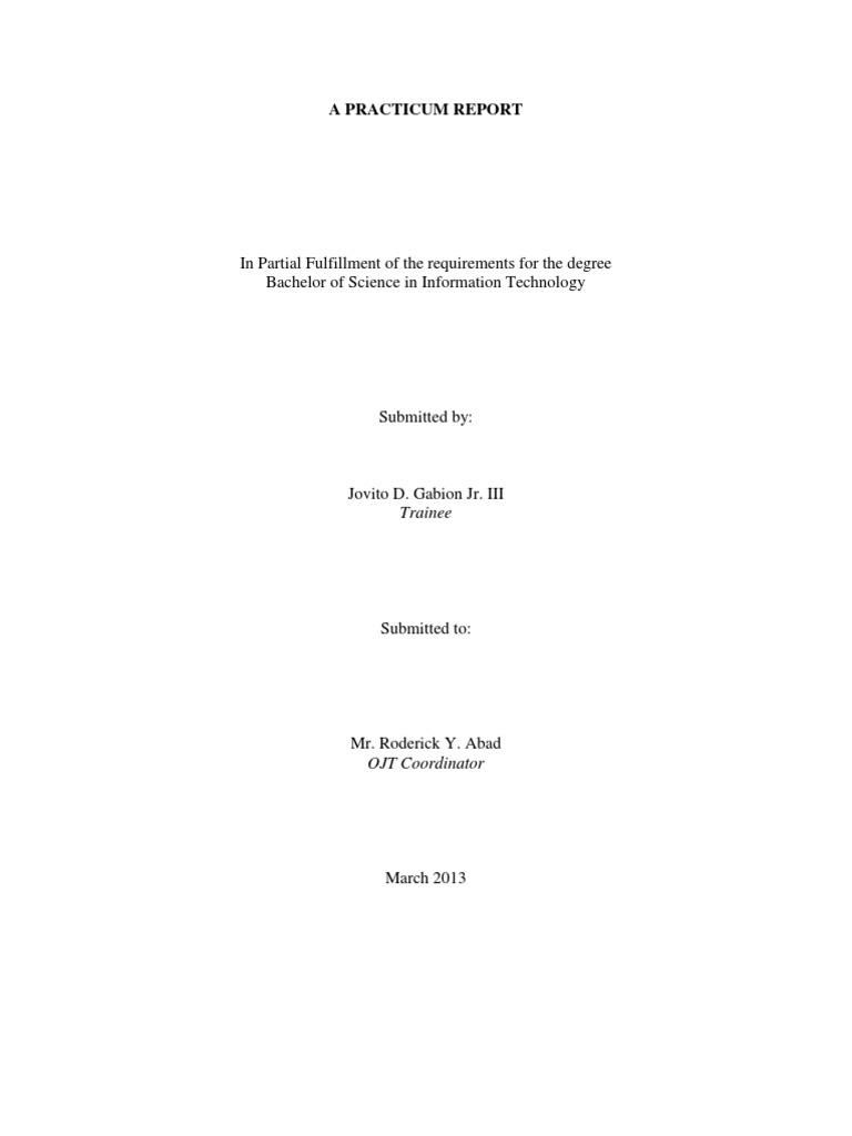 Narrative Report Of Ojt At Registrar S Office Internship