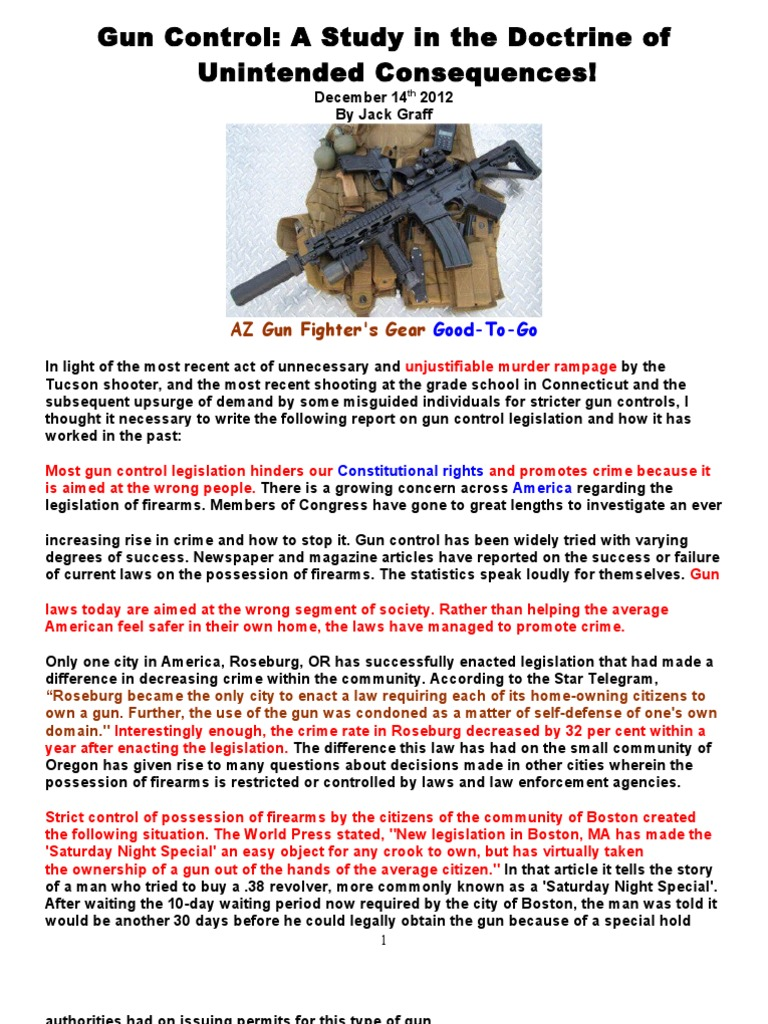 Gun control a study in the doctrine of unintended consequencesc gun control a study in the doctrine of unintended consequencesc sandy hook elementary school shooting school shooting biocorpaavc