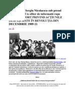 RAPORT PRIVIND ACŢIUNILE DESFĂŞURATE IN REVOLUŢIA DIN DECEMBRIE 1989