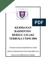 Kertas Kerja Kejohanan Badminton Beregu Lelaki Terbuka 2008 (Ada Karpet)