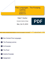 Lecture 21 - Non-Context-Free Languages - The Pumping Lemma