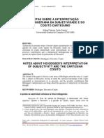 Notas Sobre a Interpretacao Heideggeriana Da Subjetividade e Do Cogito Cartesiano - Edgard Vinicius Cacho Zanette
