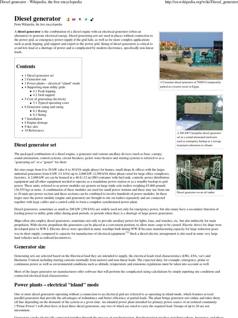 Diesel Generator - Wikipedia, The Free Encyclopedia | Power (Physics
