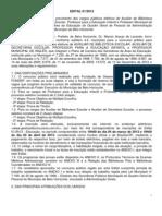 Edital 01.2013 - PBH Educação - Publicado no DOM em 03.01.2013