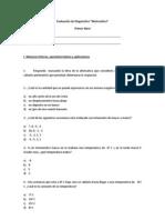 Evaluación de Diagnostico Matematica PRIMER NIVEL 2013
