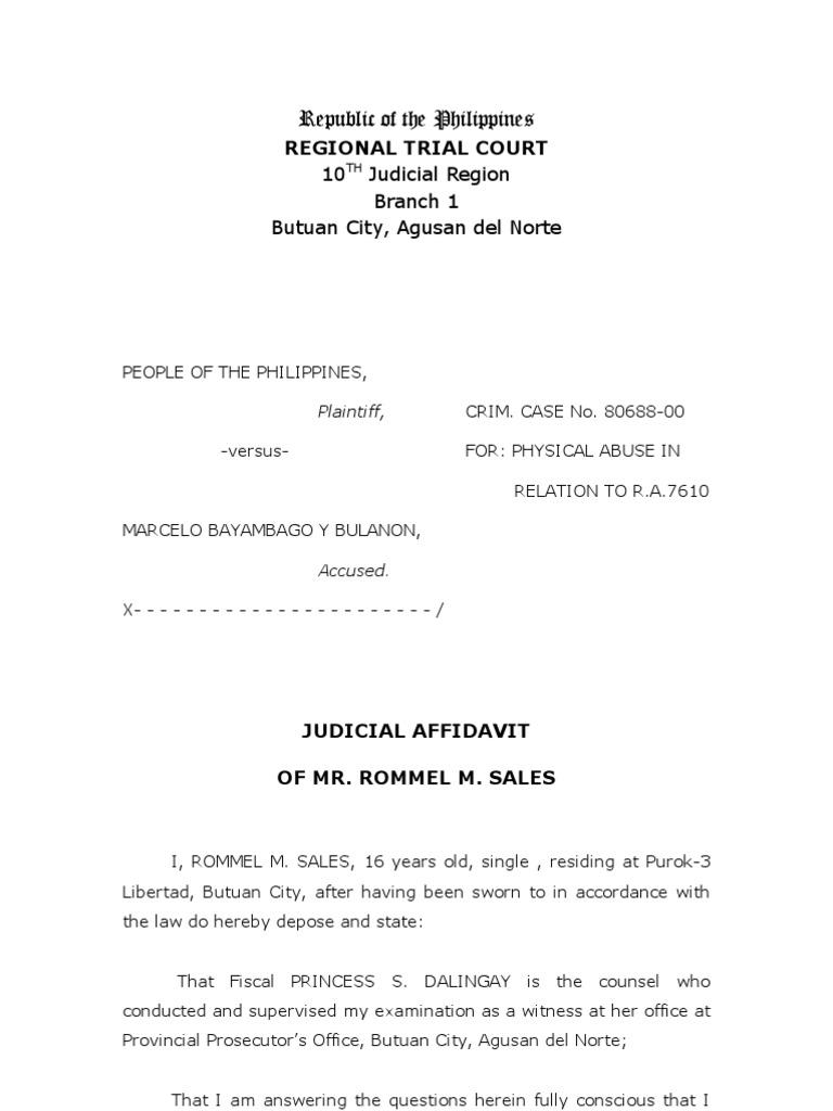 Sample Judicial Affidavit – Samples of Affidavit
