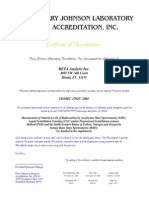 Beta Analytic ISO 17025 Certificate of Accreditation
