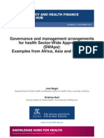 Governance and management arrangements for health Sector-Wide Approaches (SWAps) (WP8)