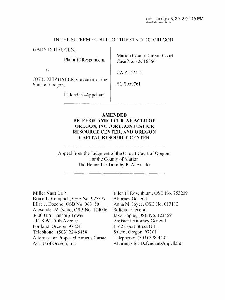 ACLU's amici curiae brief for Haugen v  Kitzhaber | Pardon