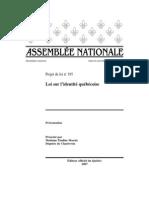 Projet de Loi sur l'identité québécoise
