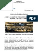 Discurso histórico no Parlamento Europeu