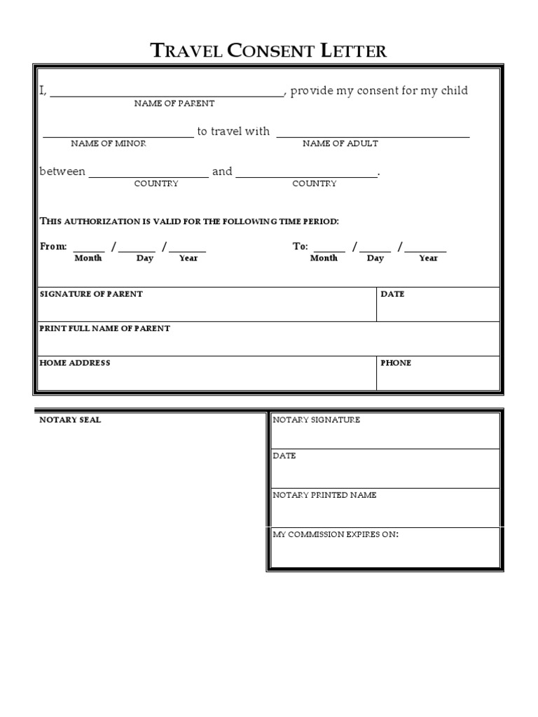 Travel Consent Letter Blank – One Parent Travel Consent Form