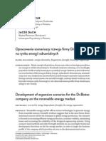 Opracowanie scenariuszy rozwoju fi rmy Dr.Biotec na rynku energii odnawialnych
