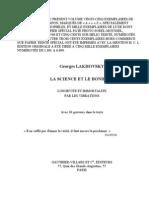 Georges Lakhovsky - La Science Et Le Bonheur