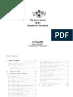 Swaziland Budget Estimates 2013-16