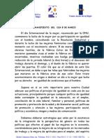 """Manifiesto de la Ciudad Autónoma por el Día Internacional de la Mujer """"MANIFIESTO  DEL  DIA 8 DE MARZO"""""""