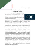 """Manifiesto del PSOE por el Día Internacional de la Mujer """"MANIFIESTO POR EL DÍA DE LA MUJER"""""""